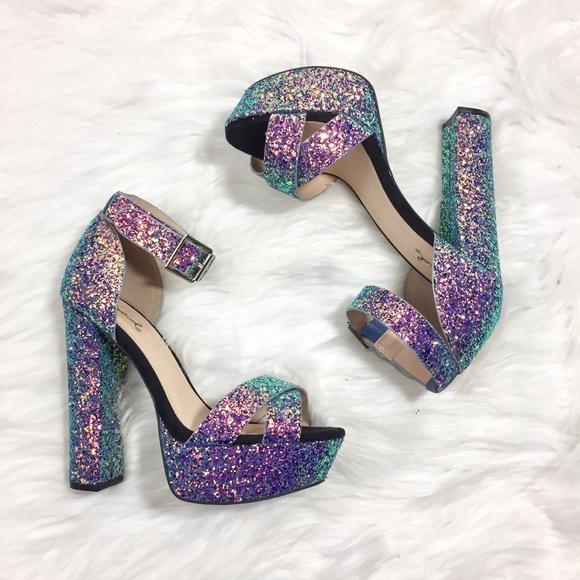 Qupid Platform Heels Glitter Iridescent
